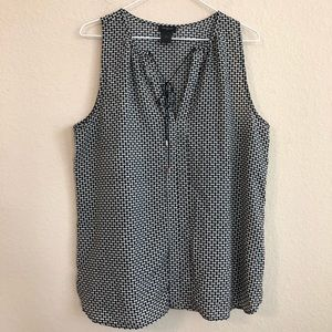 Ann Taylor Black & White Print Tank Top
